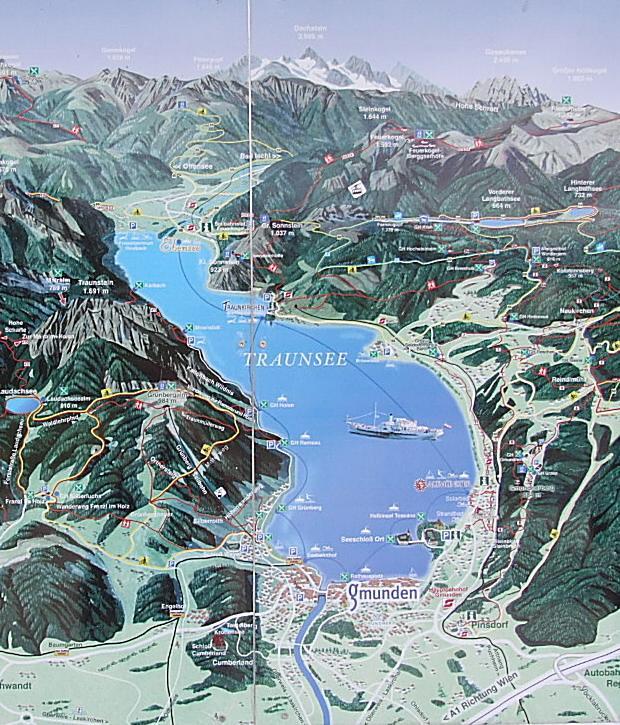 mapa okoli jezera traunsee