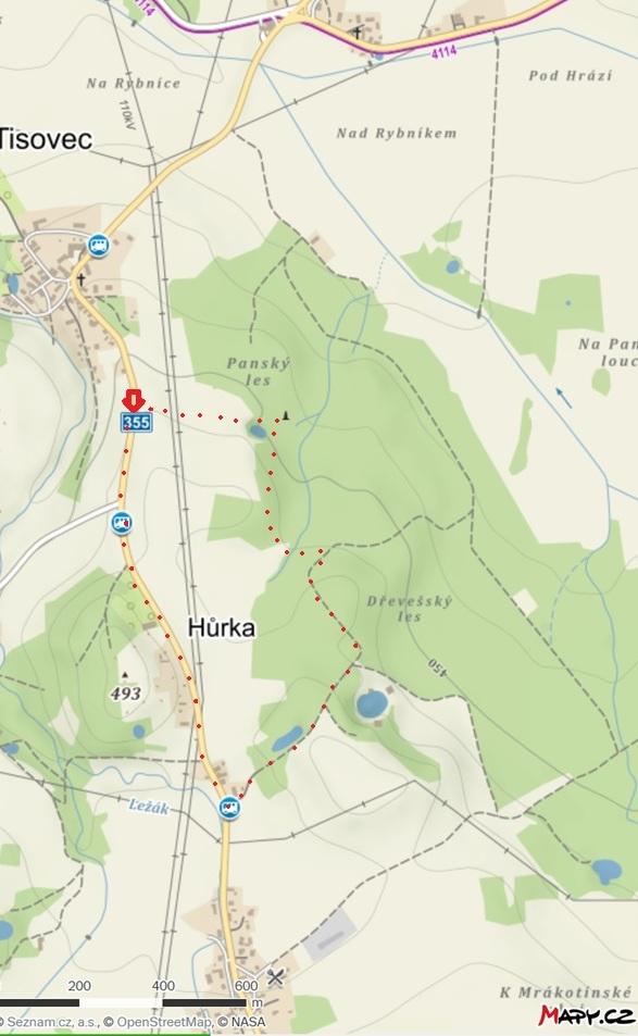 mapa Tisovec pomníček